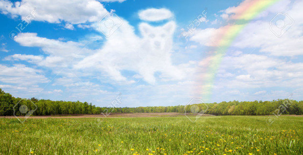 47229852-Beautiful-open-field-with-a-cloud-shaped-like-a-dog-angel-that--Stock-Photo