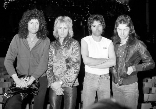 British rock group Queen (From left) Brian May, Roger Taylor, Freddie Mercury and John Deacon at Earls Court, London, where they rehearsed for their up and coming concerts.